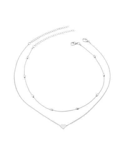 2Pcs Heart Collarbone Necklace Set - Silver