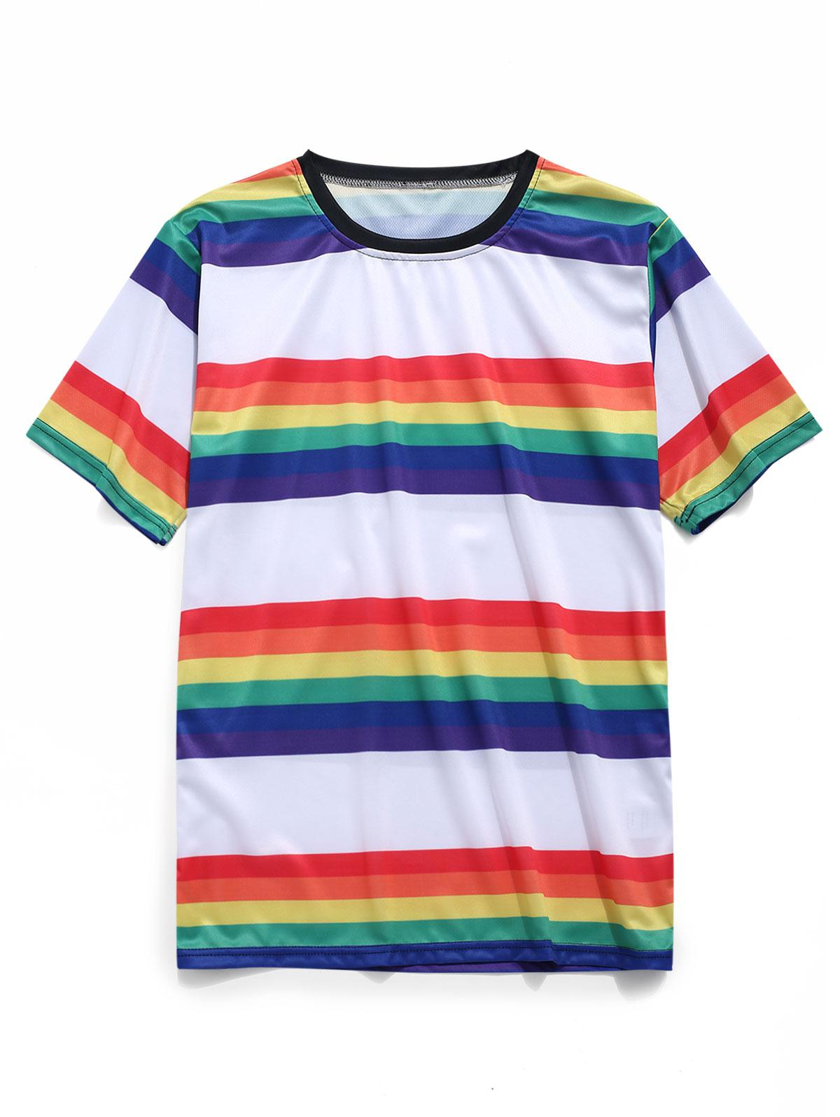 Rainbow Stripes Print Short Sleeves T-shirt, Ruby red