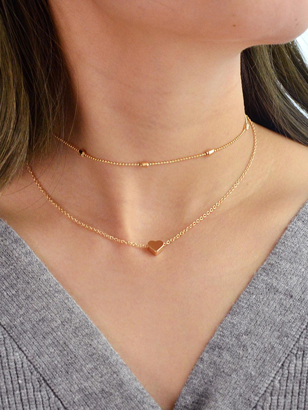 2Pcs Heart Collarbone Necklace Set, Gold