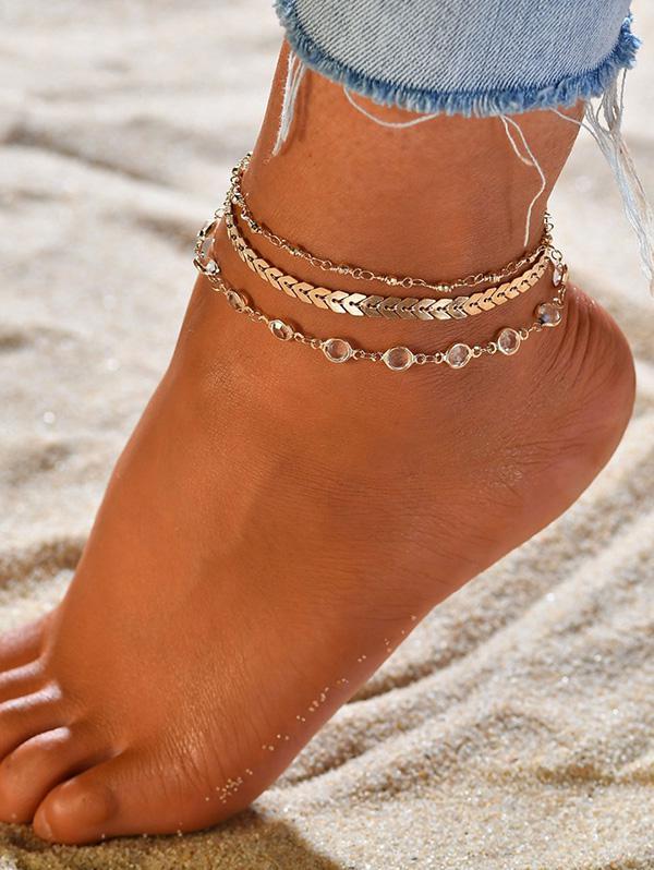 3 Piece Arrow Sequins Chain Anklet Set
