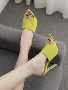867682dd861f 18% OFF   NEW  2019 Pointed Toe Suede High Heel Slides In GREEN EU ...