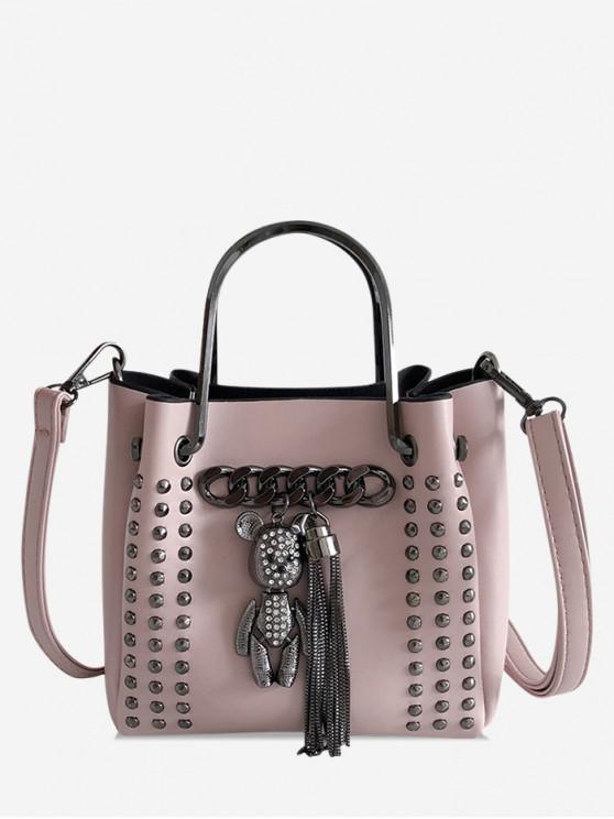 affordable Bear Fringe Decor Studded Crossbody Bag - PINK