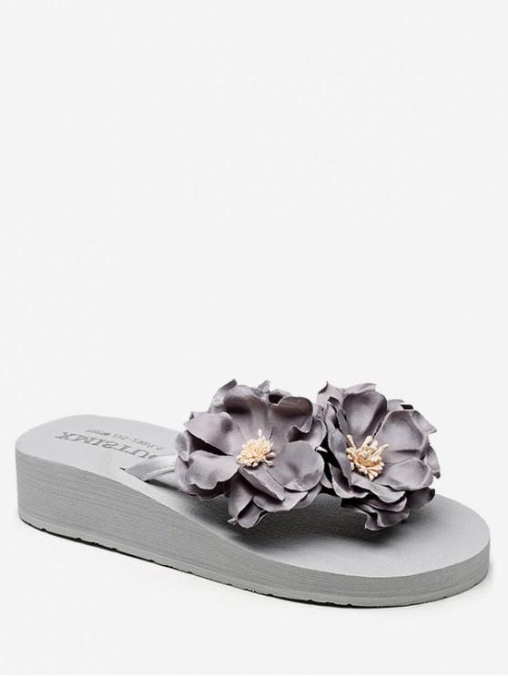 shop Flower Decor Low Heel Thong Slides - GRAY CLOUD EU 40