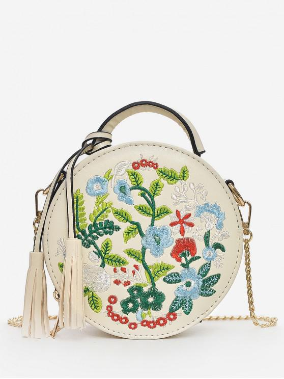 latest Ethnic Style Embroidery Flower Shoulder Bag - WARM WHITE