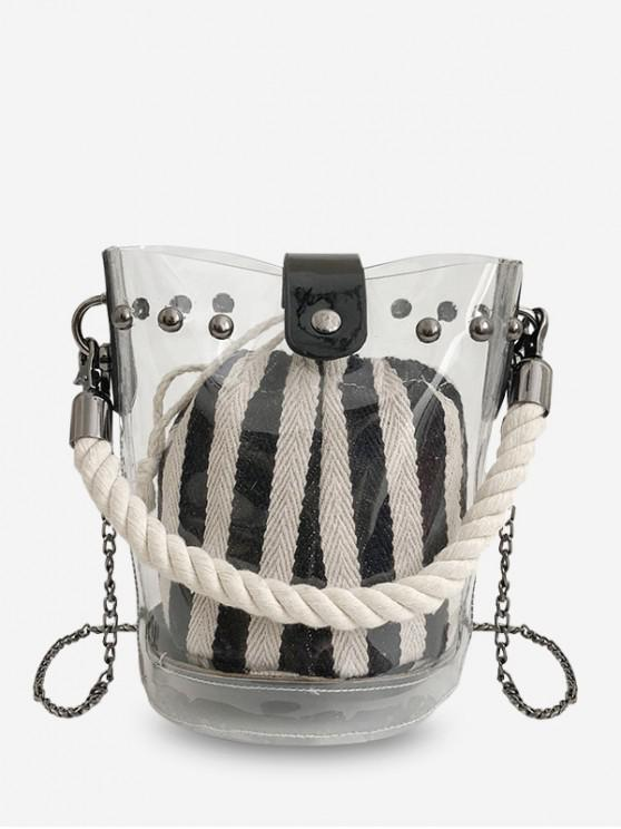 latest Chain Transparent Bucket Bag - BLACK