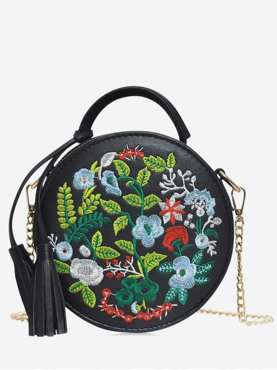 womens Ethnic Style Embroidery Flower Shoulder Bag - BLACK