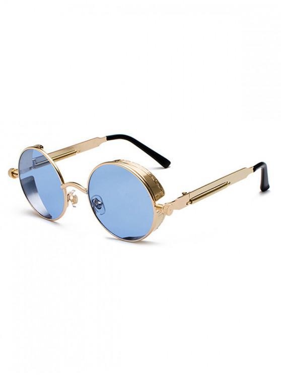lady Steampunk Round Reflective Sunglasses - DENIM DARK BLUE