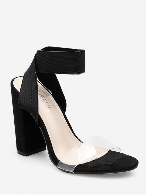 lady Elastic Band Chunky Heel Sandals - BLACK EU 38