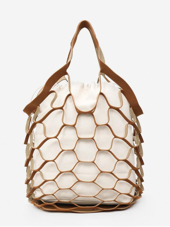 fashion String Mesh Hollow Out Tote Bag Set - LIGHT BROWN