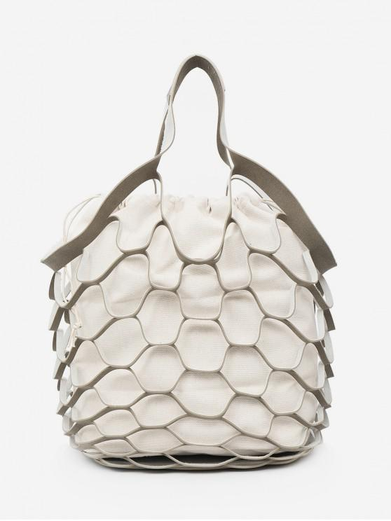 outfit String Mesh Hollow Out Tote Bag Set - LIGHT GRAY