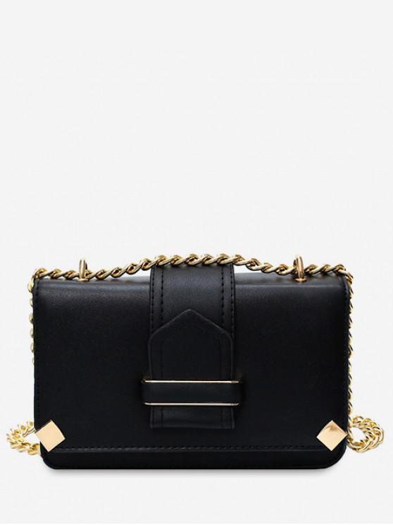women PU Cover Chain Square Shoulder Bag - BLACK