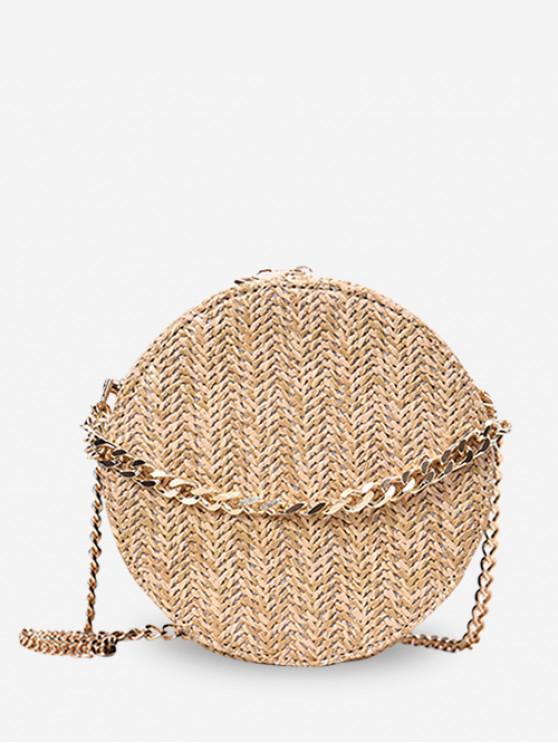 hot Zipper Chain Straw Round Shoulder Bag - KHAKI