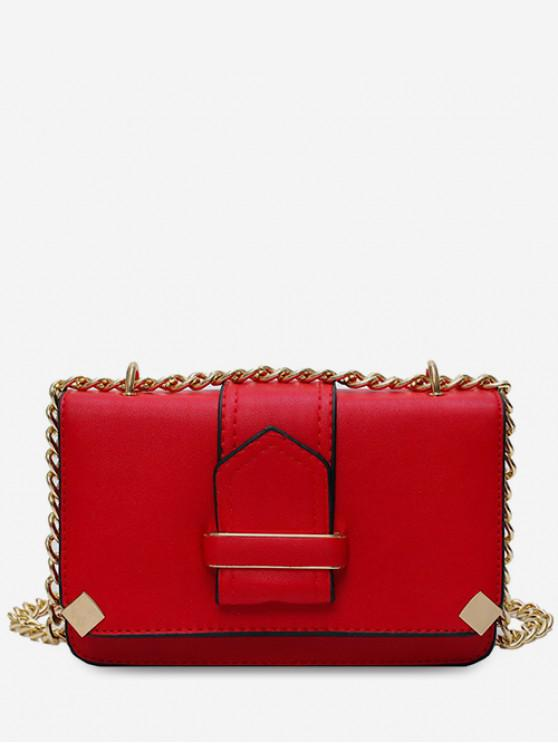 outfits PU Cover Chain Square Shoulder Bag - RED