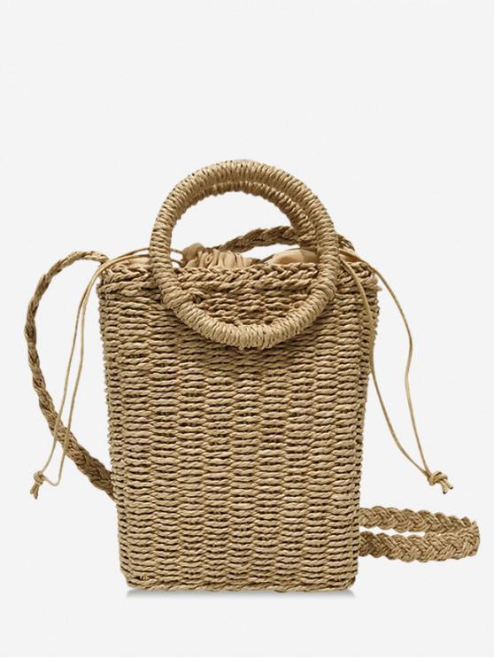latest Round Handle Sting Mini Straw Tote Bag - KHAKI
