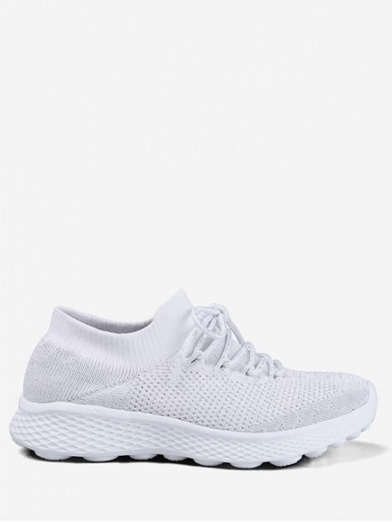 trendy Knit Mesh Lace Design Running Sneakers - WHITE EU 36