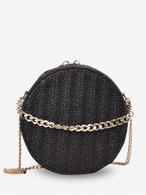 拉鍊鏈條秸稈圓形單肩包 - 黑色