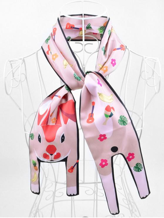 sale Animal Print Two Layers Neck Scarf - PINK