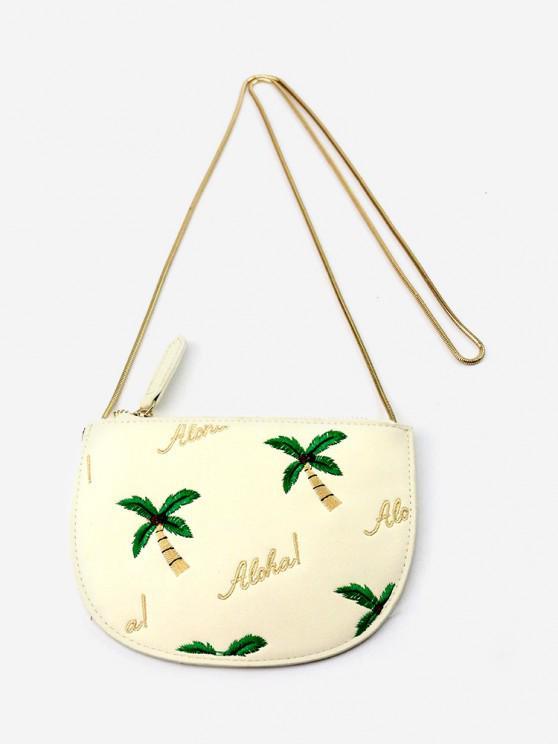 women's Coconut Tree Embroidery Zip Semi-circular Coin Purse - WARM WHITE