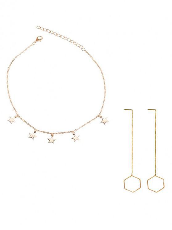 new Star Necklace Geometric Earrings Set - MULTI
