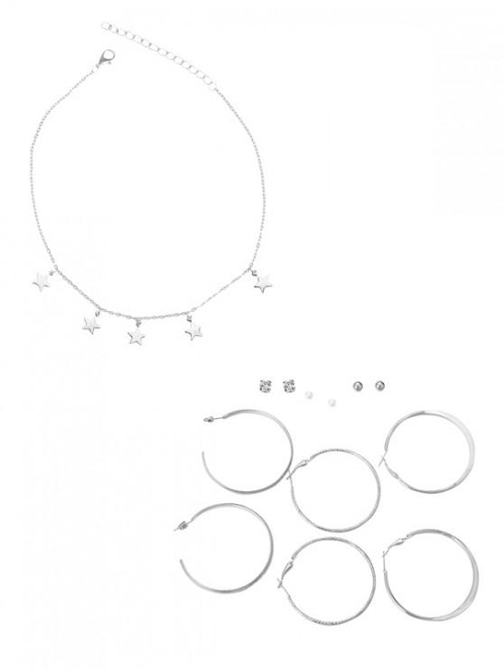 sale Star Necklace Stud Hoop Earrings Set - MULTI