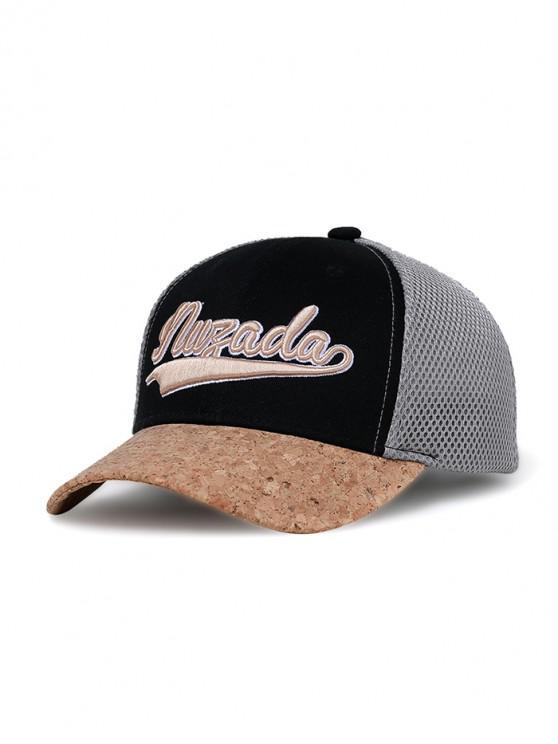 best Letter Color Block Baseball Cap - BLACK