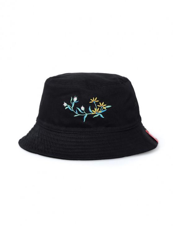 99a1507dd36 18% OFF  2019 Flower Butterfly Embroidery Bucket Hat In BLACK