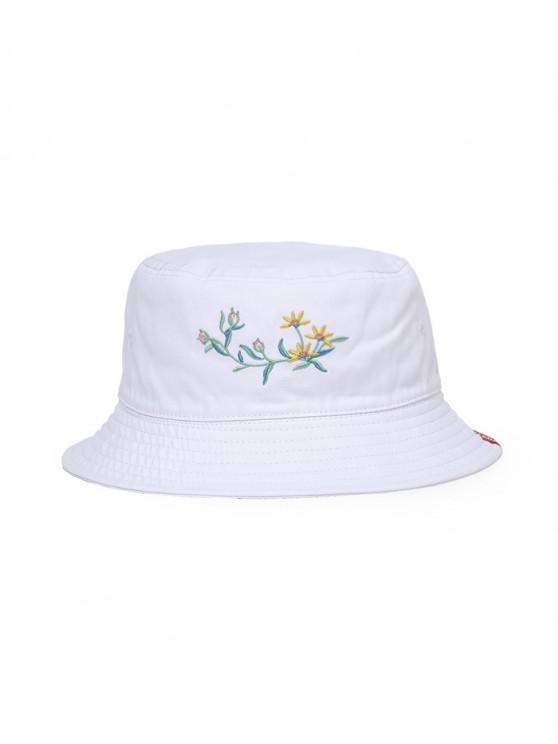 Chapéu de balde de bordado de borboleta de flor - Branco