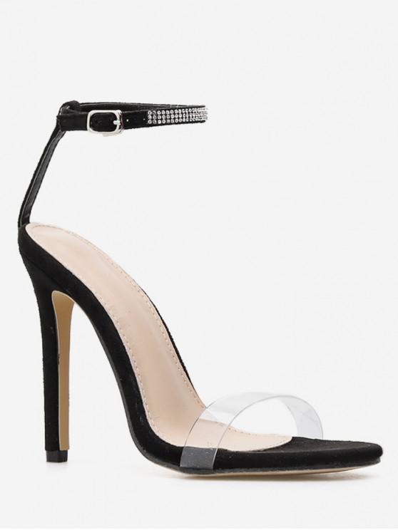 c5e1a8f8f0 Rhinestone Ankle Strap High Heel Sandals BLACK SILVER