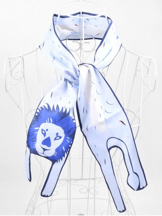 womens Animal Print Two Layers Neck Scarf - AZURE