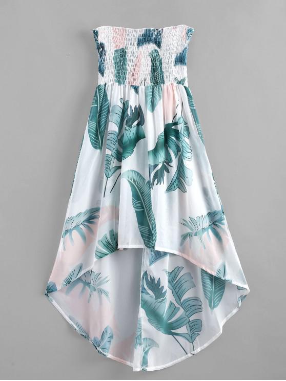unique Palm Leaf Shirred Beach Dress - MULTI-A L