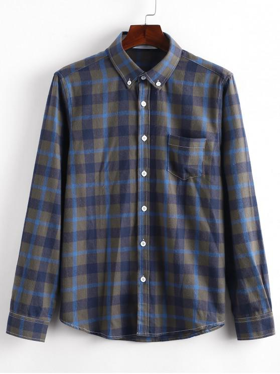 new Long Sleeves Plaid Print Slim Fit Shirt - BLUE L