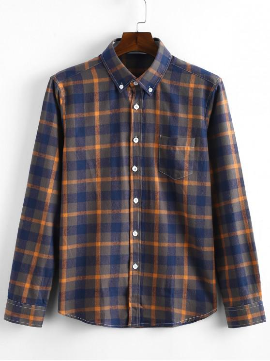 fashion Long Sleeves Plaid Print Slim Fit Shirt - GOLDEN BROWN L