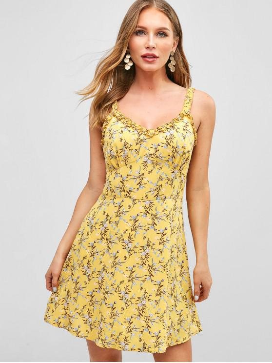 trendy ZAFUL Floral Lettuce Trim Skater Dress - BRIGHT YELLOW XL