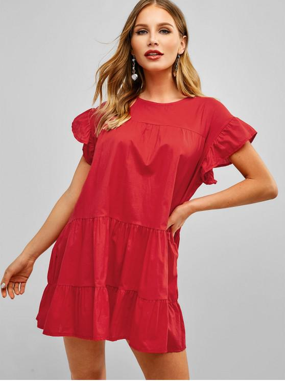 buy Short Sleeves Trapeze Solid Dress - RED L