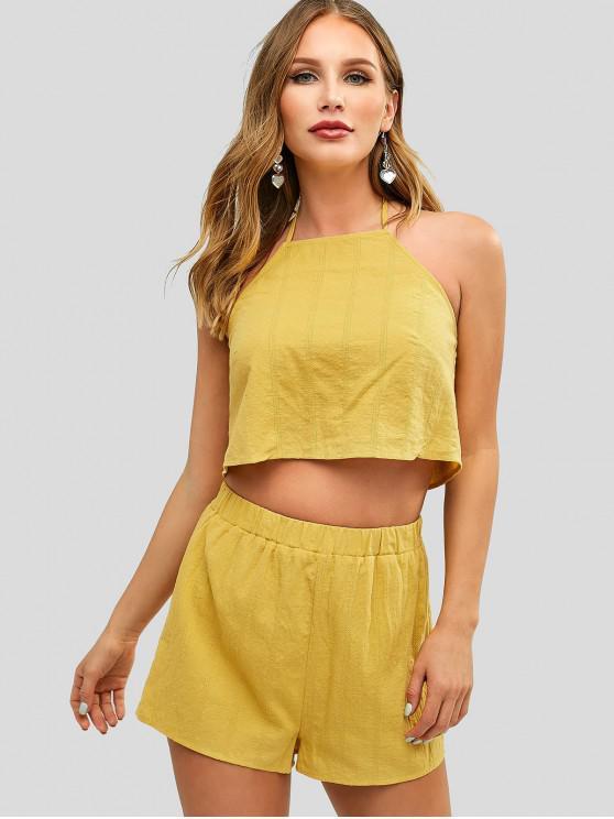 women's ZAFUL Halter Crop Top and Shorts Set - GOLDENROD L