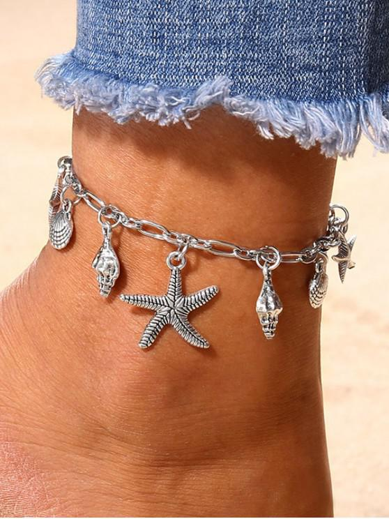 women Starfish Shell Shape Charm Anklet - SILVER