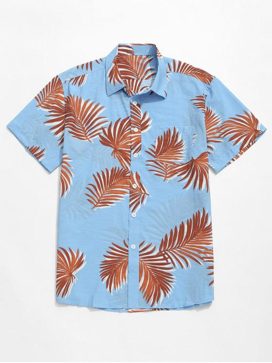 trendy Short Sleeves Leaves Printed Beach Shirt - LIGHT SKY BLUE L