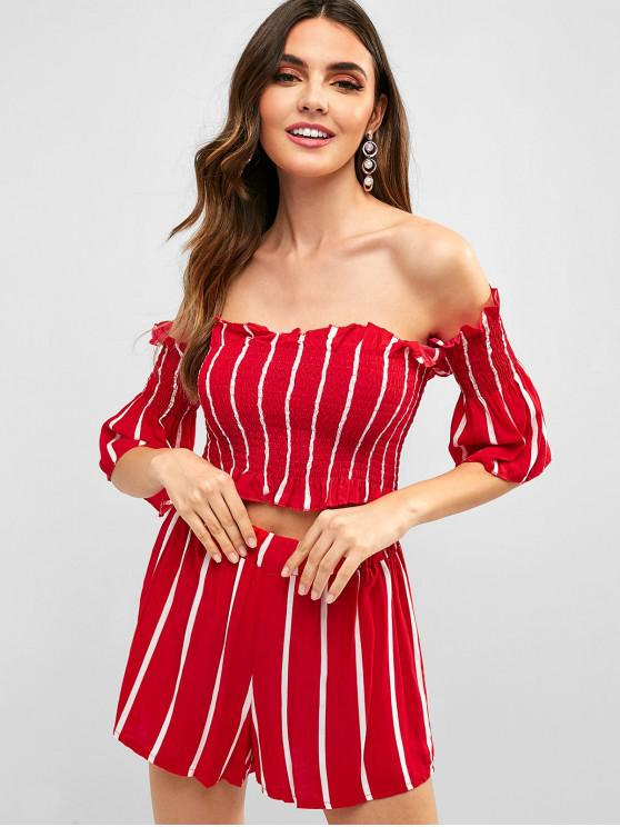 women Ruffles Off Shoulder Striped Shorts Set - RED L