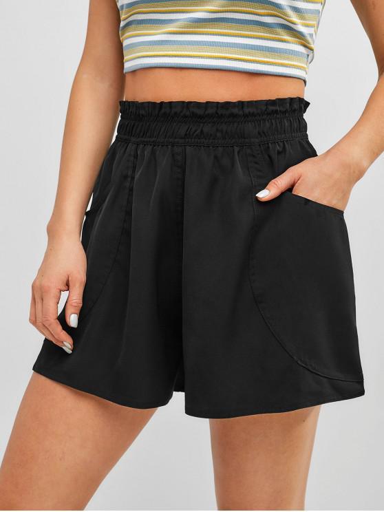 Простые широкие шорты с высокой талией - Чёрный M
