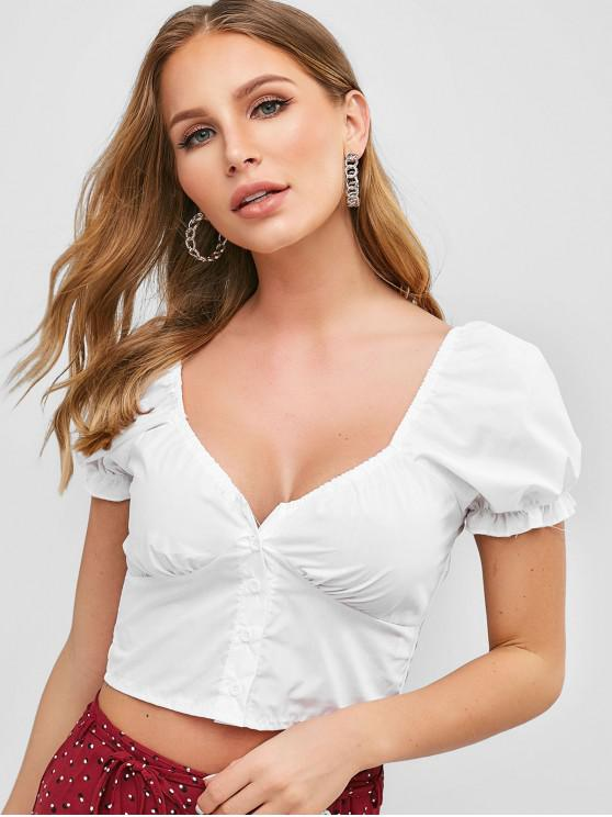 new Smocked Back Buttoned Crop Blouse - WHITE S