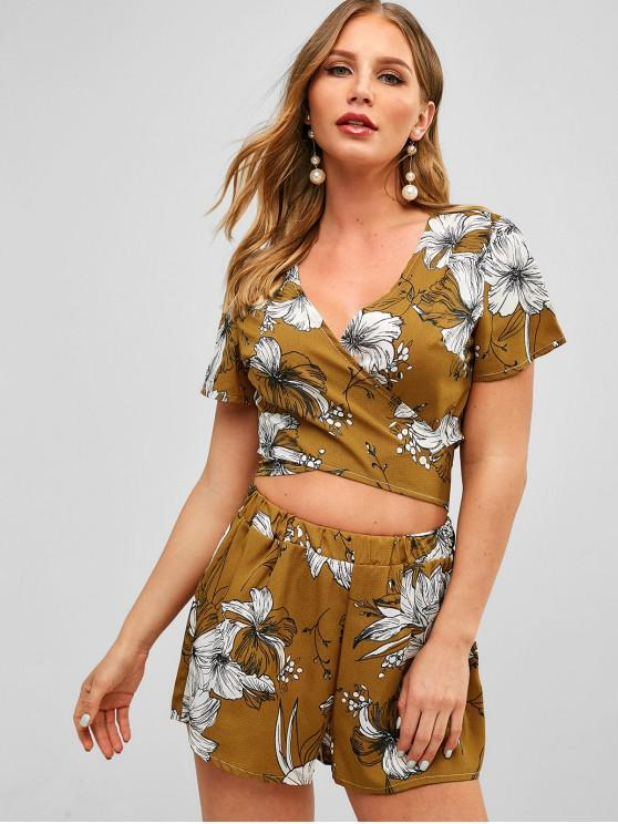 outfits Floral Print Wrap Top and Shorts Set - BEE YELLOW L