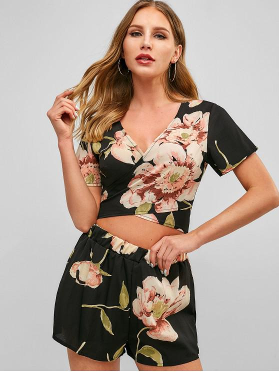 best Floral Print Wrap Top and Shorts Set - BLACK L