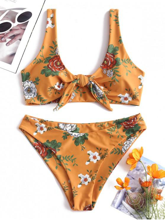 8248a0d9ac 22% OFF] 2019 ZAFUL Floral Tie Front Bikini Set In BRIGHT YELLOW | ZAFUL