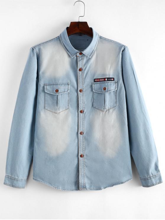 ladies Flag Applique Slim Fit Jean Shirt - LIGHT BLUE S