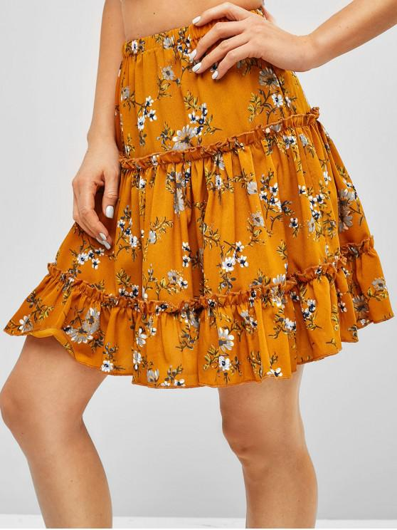 fashion Ruffles Floral A Line Skirt - CARAMEL S