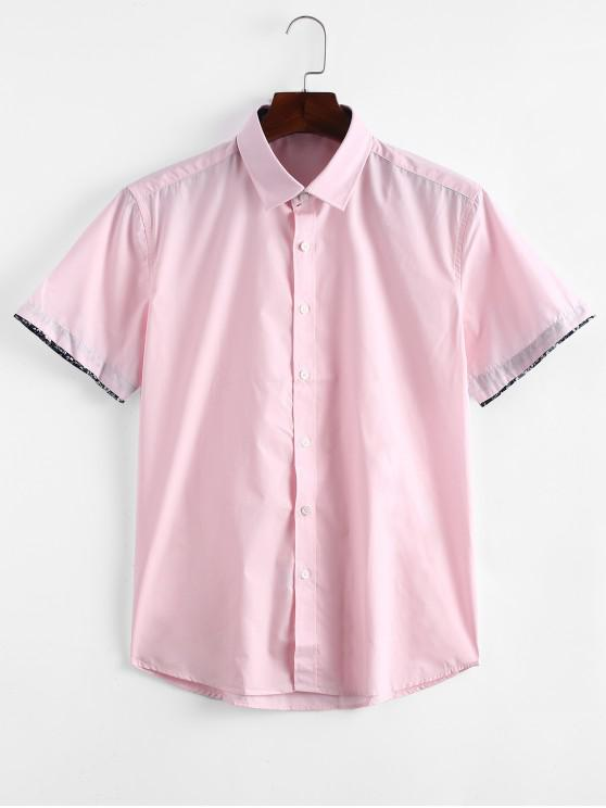 outfit Flowers Panel Sleeves Solid Color Shirt - PINK L