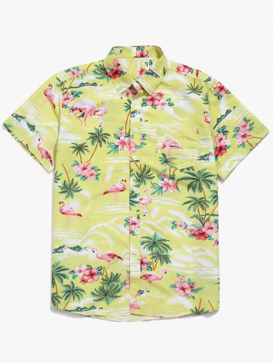 affordable Flamingo Plant Flowers Print Beach Shirt - TEA GREEN M