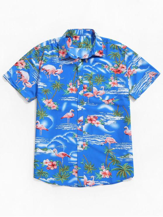 lady Flamingo Plant Flowers Print Beach Shirt - BLUEBERRY BLUE L