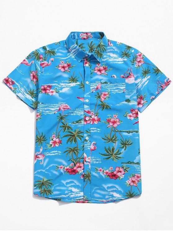 ladies Flamingo Flowers Plant Scenery Print Beach Shirt - OCEAN BLUE L