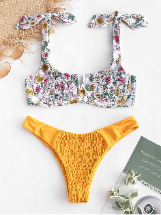 sale ZAFUL Floral Smocked Tied V Wired Bikini Set - RUBBER DUCKY YELLOW S